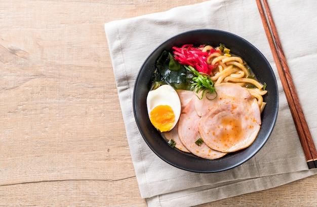 Spicy miso udon ramen noodle with pork
