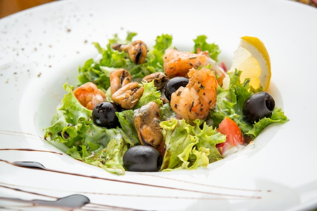 Spicy prawn salad. salad with seafood.