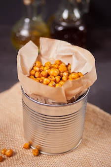 Spicy roasted chickpeas. healthy and vegetarian food.