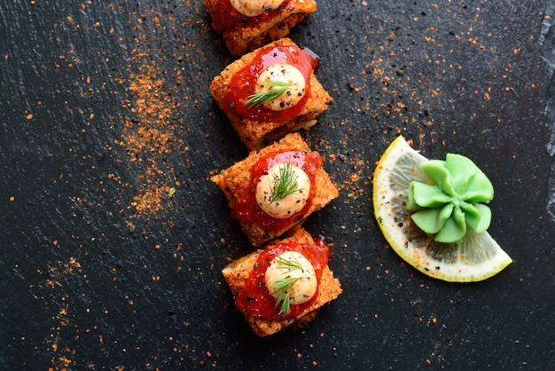 Spicy rolls with lemon and wasabi