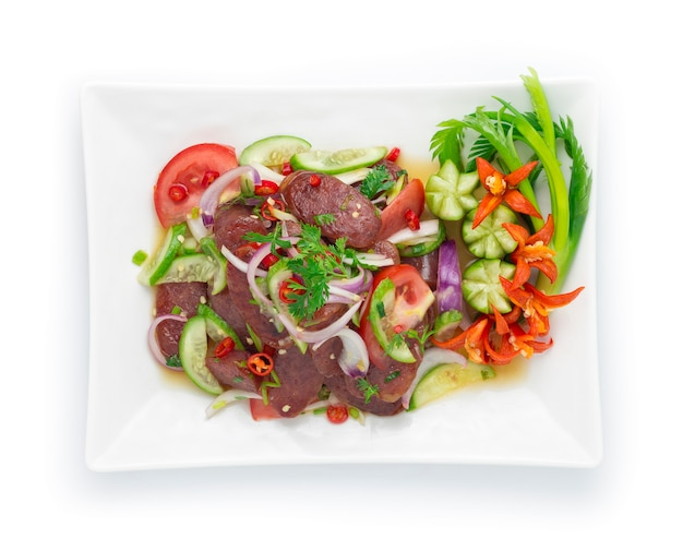 Острый салат из китайской свиной соусы с овощами