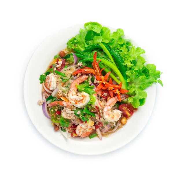 Spicy salad vermicelli noodles with shrimps
