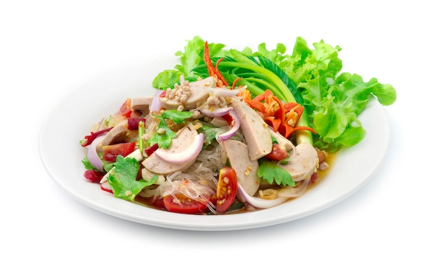 Spicy salad vermicelli noodles with vietnamese pork