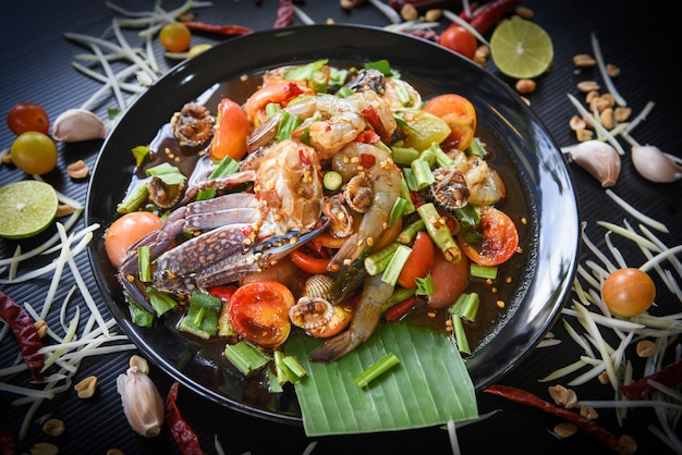 Spicy seafood salad with fresh shrimps