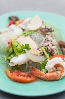 Spicy seafood vermicelli salad