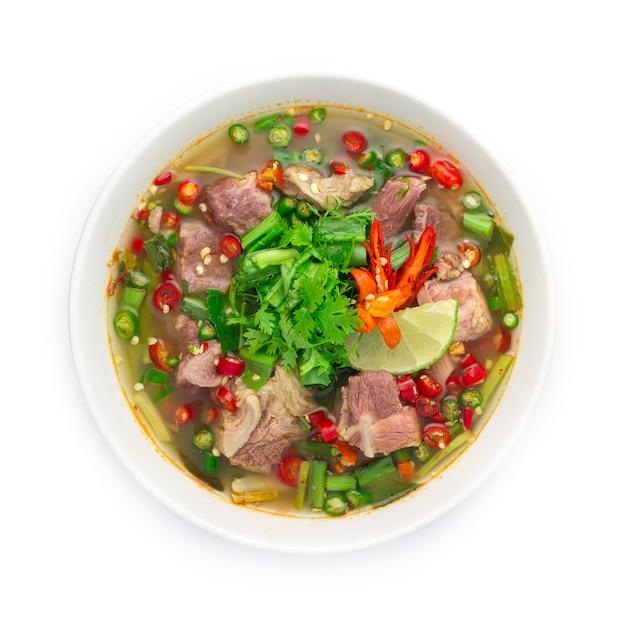 돼지 갈비 태국 음식 매운 스프