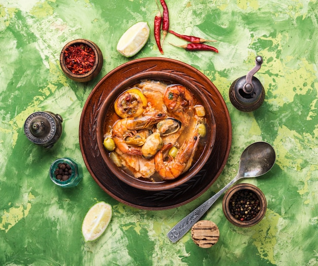 Spicy soup with seafood