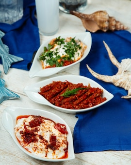 Spicy turkish side dishes platters served on white table