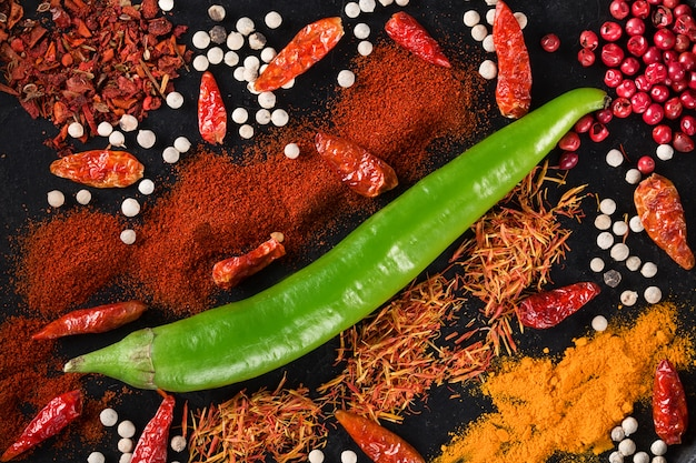 Spicy with chili pepper. top view