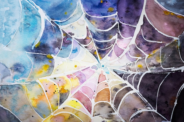 Паук разноцветная паутина акварель абстракция