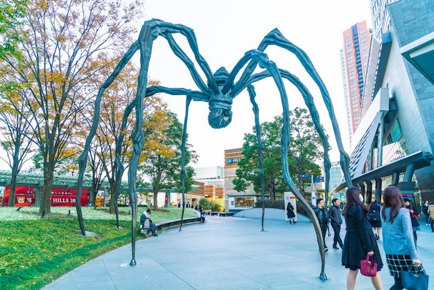 A spider sculpture by louise bourgeois, situated at the base of mori tower building in roppongi hills