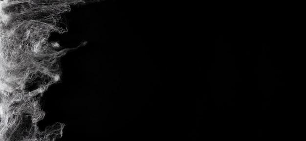 검은 배경에 거미줄입니다. 할로윈 배너입니다. 공간을 복사합니다. 선택적 초점입니다.