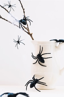 Spiders on jug and branch