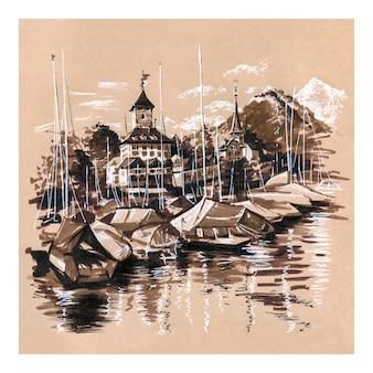 スイス、シュピーツのトゥーン湖にあるシュピーツ教会と城