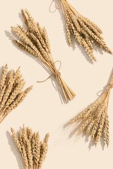 小麦のスパイクが穀物作物をクローズアップ豊富な収穫の創造的な概念