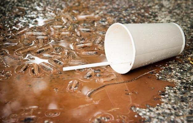 Spilled ice coffee on floor