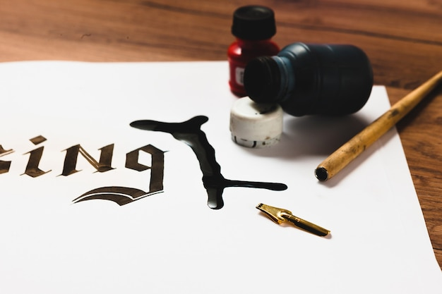 Spilled ink on paper