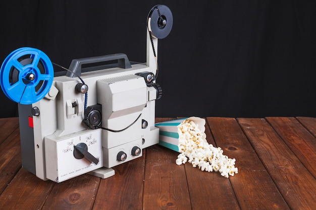 Spilled popcorn and movie projector