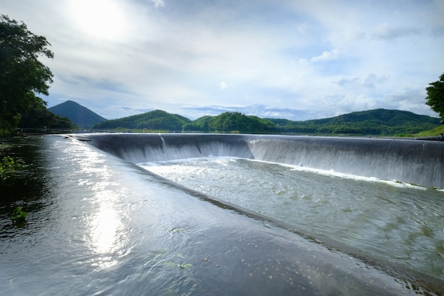 Spillway constructed in the dam, ang kep nam man ton bon, 16 september 2021 loei thailand