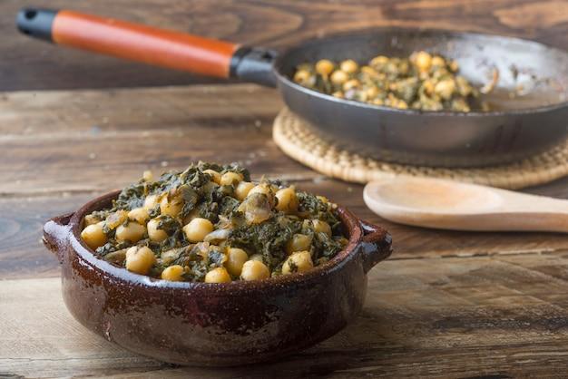 ほうれん草とヒヨコ豆(ポタヘ)