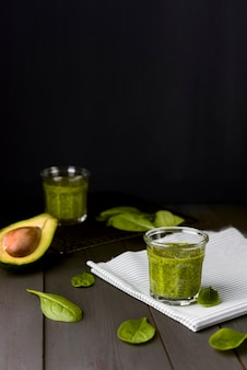 Spinach and avocado natural smoothie