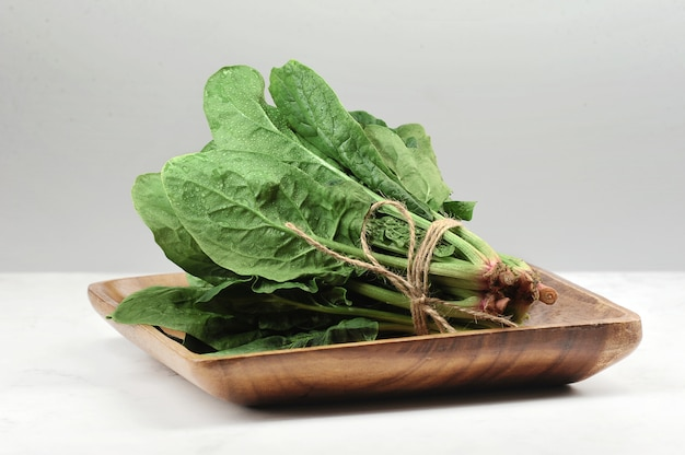 Spinach leaves tied in a bundle with a rope