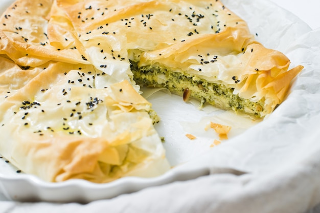 Spinach pie with feta cheese.