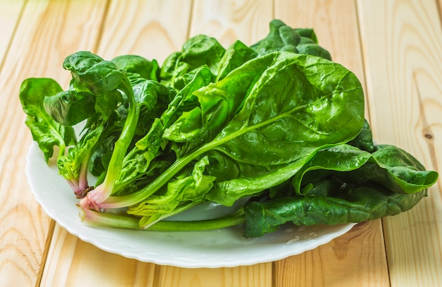 Spinach in a plate.