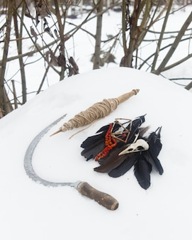 紡錘、カラスの羽、鳥の頭蓋骨のローワンビーズ、雪の中の鎌。