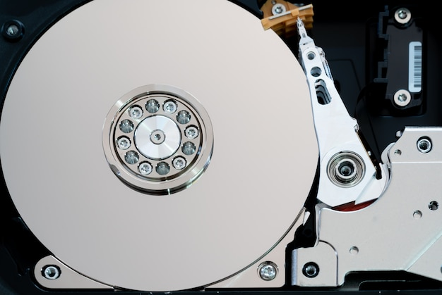 Spindle and plate opened hard disk drive hdd.