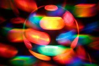 Spinning disco lamp abstract  orange