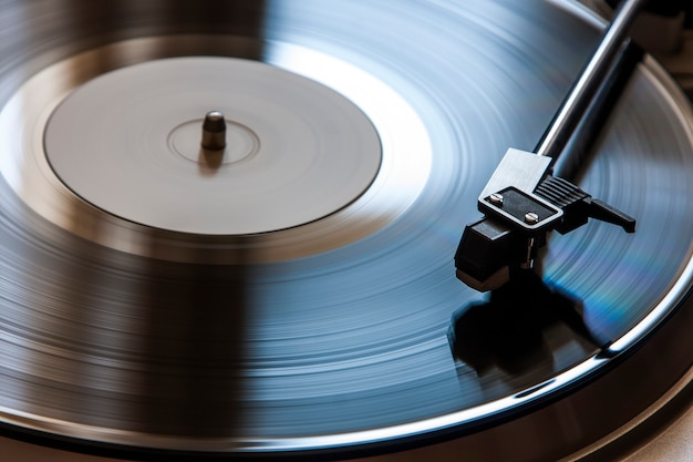 Spinning record on turntable