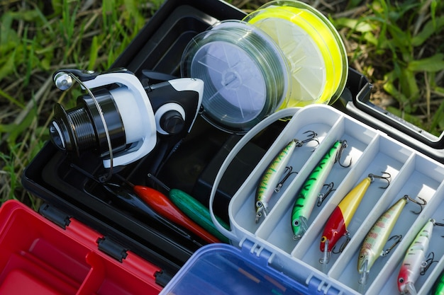 Spinning reel fishing line plastic tackles artificial lures and other hobby fishing gear