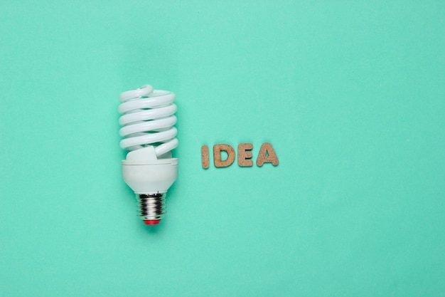 Spiral eco light bulb and word idea on blue paper