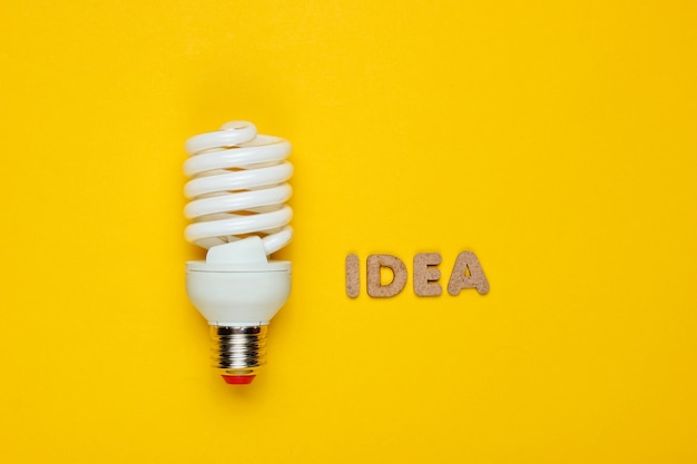 Spiral eco light bulb and word idea on yellow paper