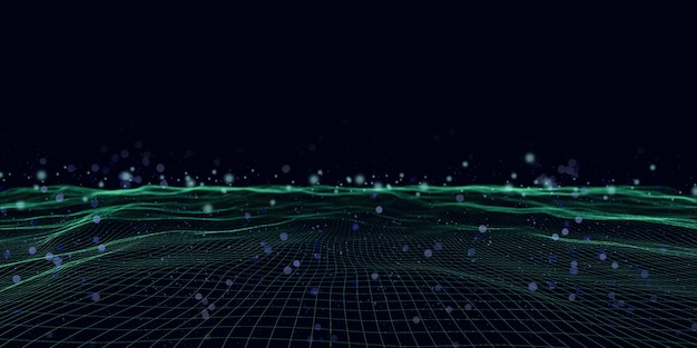나선형 메쉬 멀티 컬러 사각 파 및 bokeh 추상 3d 그림