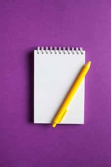 컬러 표면에 디자인을위한 모형으로 펜이있는 나선형 노트북