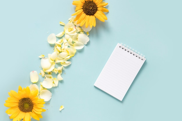 Spiral notepad near sunflowers and petals on blue background