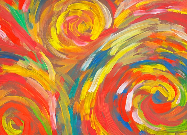 Spiral  red background hand drawn paint abstract art