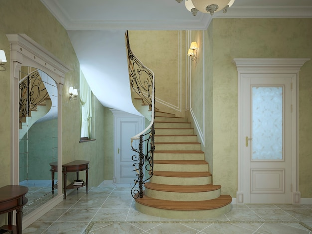 Spiral staircase in art deco hallway and dark handrails and light wood stairs.