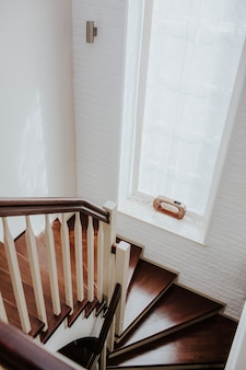 Spiral staircase inside building, modern spiral staircase, luxurious interior staircase, home stair symbol, modern stairs
