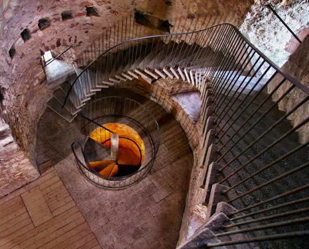 Spiral stairs inside a concrete building