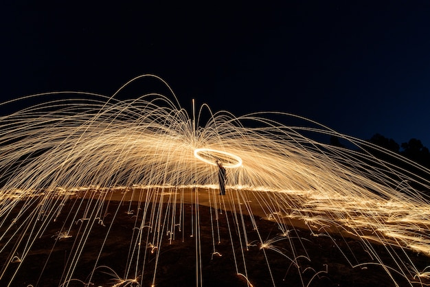 Spiral steel wool fire ,art of spinning steel wool ,absrtact light