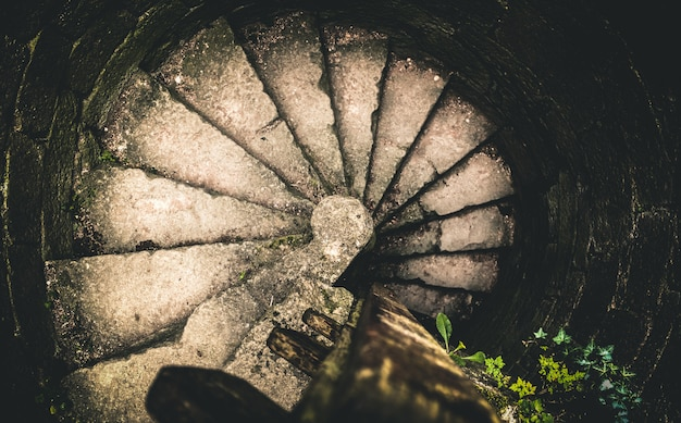 Spiraling stairway of a castle