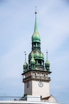 Spire of the old town hall in brno, czech republic