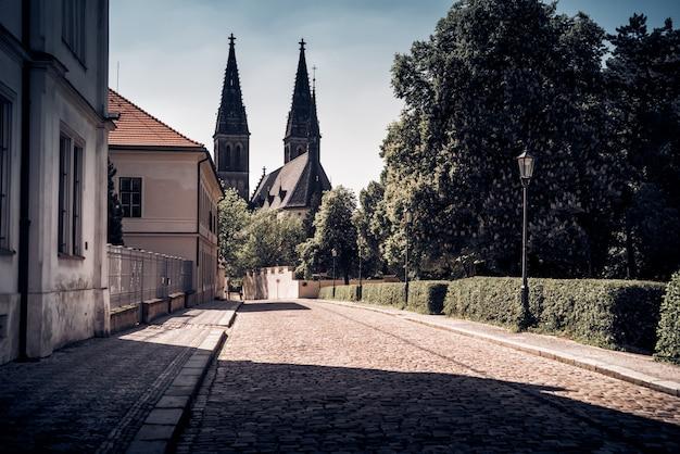 Шпионы нео-готической базилики святого петра и павла. вышеград, прага. чешская республика