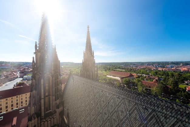 Spires of saint vitus cathedral. prague, czech republic