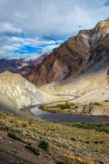 ヒマラヤヒマーチャルプラデーシュ州インドのスピティ渓谷