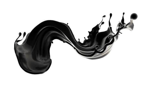 Splash of black liquid.