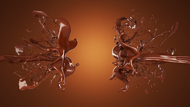 A splash of chocolate. 3d illustration, 3d rendering.